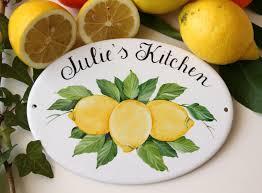 Ceramic Lemon Personalized Kitchen Signs Wall