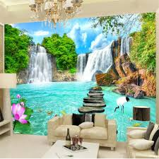 beibehang custom tapete 3d wandbilder landschaft wasserfall stereo foto wandbild landschaft wohnzimmer schlafzimmer hotel tapete 3d wandbild