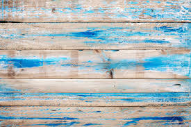 Old Wooden Background With Blue Paint Vintage Wood Texture From Beach In Summer Stock