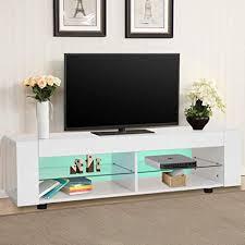 greensen tv board holz tv unterschrank weiß fernsehschrank tv lowboard hochglanz tv schrank mit offene fächer fernsehtisch mit 16 farben led