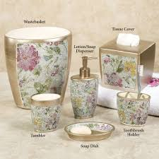 Crackle Glass Bathroom Set by Watercolor Floral Mosaic Bath Accessories