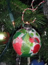 Glass Ornament With Christmas Colored Tissue Paper Glued Onto The Outside So Simple Yet