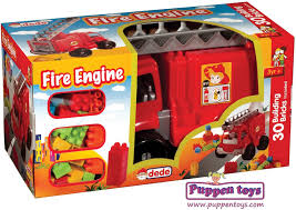 Fire Truck With 30 Building Blocks DEDE - Juguetes Puppen Toys