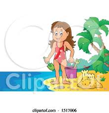 Clipart Of A Girl By Sand Castle On An Island Beach