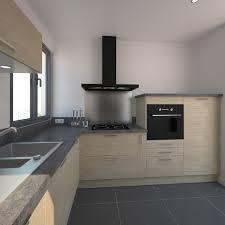 accessoire meuble cuisine cuisine bois rustique avec plan de travail décor béton gris clair