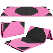 Best Choice Products 4x10x2 Gymnastics Gym Folding Exercise Aerobics Mats Pink Stretching Yoga Mat