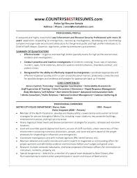 Police Officer Resume Examples From Law Enforcement Template Ficer Templates