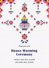 Indian Housewarming Floral Kalash Invite