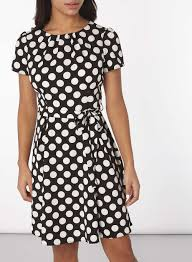 black and white spotted fit u0026 flare dress dorothy perkins