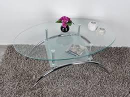 ts ideen glastisch beistelltisch couchtisch oval mit edelstahl und 8 mm esg sicherheitsglas