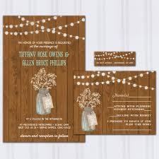 Rustic Barn Wood Wedding Invitations Babys Breath Invite Set String Light Invitation Ball Jar Budget
