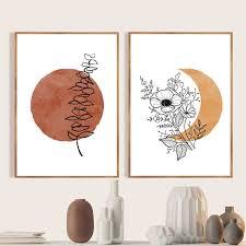 terrakotta sonne und mond boho abstrakte leinwand malerei wand kunst poster eukalyptus blume pflanzen linie kunst drucke schlafzimmer decor