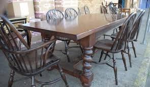 ENGLISH RUSTIC BARLEY TWIST TABLE WINDSOR CHAIR DINING SET