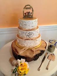 Birch Tree Fall Burlap Rustic Wedding Cake