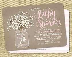 Rustic Baby Shower Invitation Girl Kraft Mason Jar