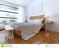 modernes schlafzimmer mit boden zu den deckenfenstern