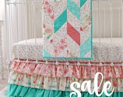 Aqua And Coral Crib Bedding by Coral Crib Bedding Chevron Baby Bedding Mint And Coral