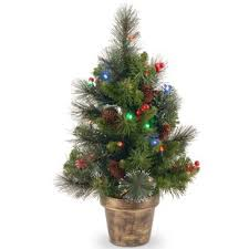 Spruce Small 2 Green Artificial Christmas Tree With 35 Multicolored Lights LED