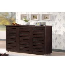 baxton studio rhodes dark brown 3 door shoe cabinet free