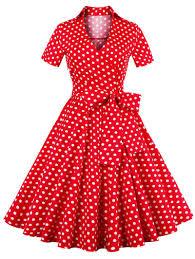 retro polka dot printed bowknot flare dress hats watches