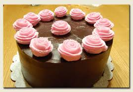 Chocolate Cake with Pink Roses