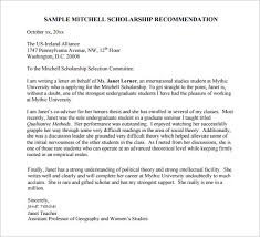 Letters of Re mendation for Scholarship 27 Free Sample