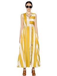 sportmax striped satin maxi dress in yellow lyst