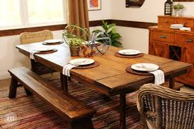 Immaculate Barn Wooden Square Dining Farmhouse Table With Benches As Well Brown Curtain