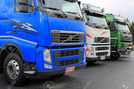 100 Volvo Truck Center LIETO FINLAND NOVEMBER 14 2015 Lineup Of Three Used
