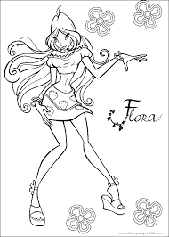 Flora Winx Club Color Page Cartoon Characters Coloring Pages Plate Sheet