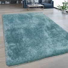 hochflor wohnzimmer teppich waschbar shaggy flokati optik einfarbig in türkis