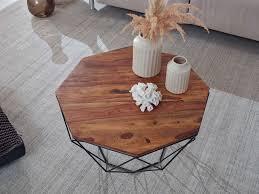 wohnling couchtisch sheesham massivholz metall 66 x 40 x 66 cm wohnzimmertisch massiv braun sofatisch modern holztisch tisch wohnzimmer