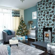 festive teal and silver living room scheme silver highlights