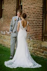 Lace Wedding Dress Rustic Gray Suit