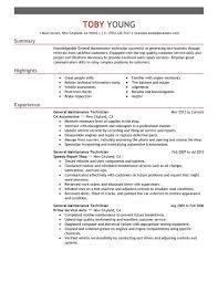General Maintenance Technician Resume Sxample
