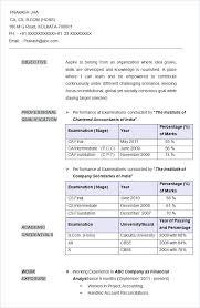 Resume Examples For Accounting Sample Chartered Accountant Company Secretary Summary
