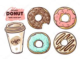 Donut vector illustration Donut isolated on a light background Donut icon in a hand drawn style Donuts into the glaze set Collection of sweet donuts