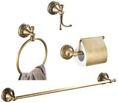 womao badezimmer zubehör set antik vintage messing wandmontage handtuchhalter zum bohren duschwand 4er set kleiderhaken toilettenpapierhalter