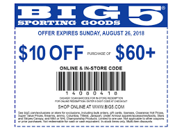 Big 5 Sporting Goods Coupon: $10 Off $60+ In 2019 ...