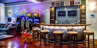 Fab Basement Man Cave Added Curved Counter Bar Having Rounded Stools As Well Game Machine Inspiring Video Room Ideas