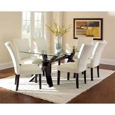 Lowest Price Online On All Steve Silver Berkley Glass Top Dining Table In Espresso Cherry Trestle TablesKitchen