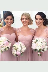 Cap Sleeve Bridesmaid Dresses Floor Length by Stylish Jewel Cap Sleeves Floor Length Pearl Pink Bridesmaid Dress