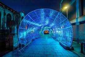 Free light night city tunnel in the evening england