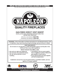 Hearth Patio And Barbecue Association Of Canada by Napoleon Fireplaces Gdi 44n User Manual 16 Pages Also For Gdi 44p