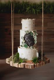 A Birch Tree Inspired Wedding Cake Adorned With Chalkboard Monogram By Alliance Bakery