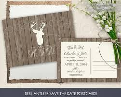 Rustic Deer Antler Save The Date Card Or Postcard Printable Wedding DIY Barn Wood Country Digital