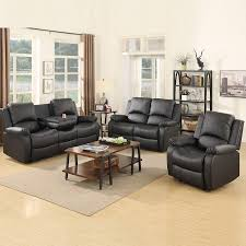 Mecor Reclining Sofa Sets Bonded Leather Sofa Recliner, 3 PC Motion Sofa  Chair Living Room Furniture (1 Seat+2 Seat+3 Seat, Black)