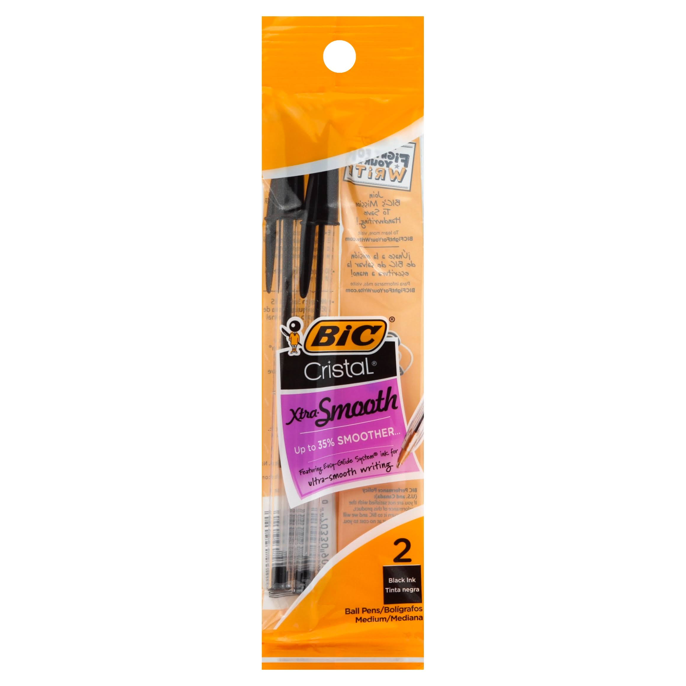 Bic Cristal Stic Ball Pens - Medium Point, 2 Pack