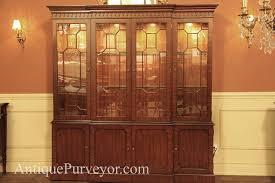 mahogany china cabinet hutch breakfront reproduction