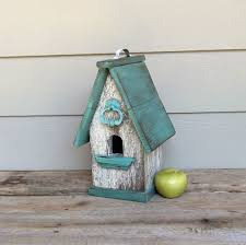 Shabby Chic Birdhouse Aqua And White Decorative Outdoor Reclaimed Materials Wood Turquoise